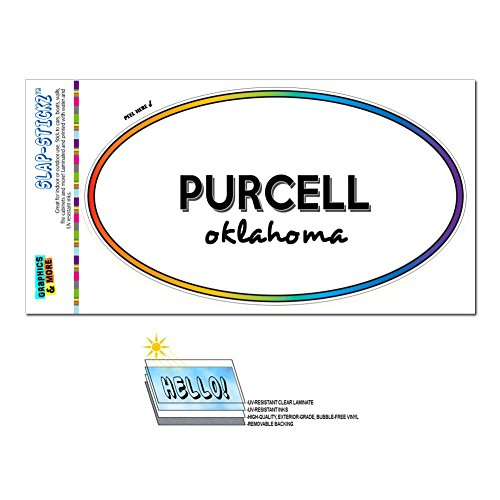 Price comparison product image Graphics and More Rainbow Euro Oval Window Laminated Sticker Oklahoma OK City State Mar - Yuk - Purcell