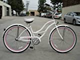 "Ladies 26"" White with Baby Blue Wheels Tahiti Beach Cruiser"
