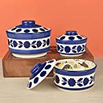 StyleMyWay Studio Pottery Handpainted Ceramic Serving Donga with Lid Casserole Set (Set of 3, White and Blue) | Dinner…