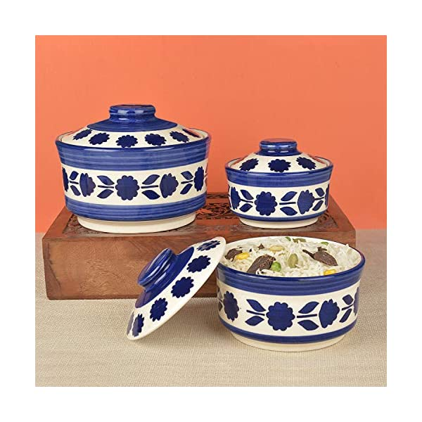 StyleMyWay Studio Pottery Handpainted Ceramic Serving Donga with Lid Casserole Set (Set of 3, White and Blue)   Dinner…