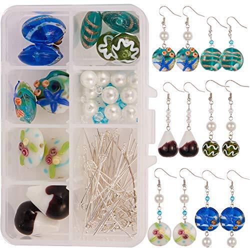 SUNNYCLUE 1 Box DIY 6 Pairs Millefiori Murano Glass Earring Jewelry Making Starter Kit Blue Ocean Weave Starfish Lampwork Pearl Beads Earring Hooks Instruction Beginners Girls Women Adults
