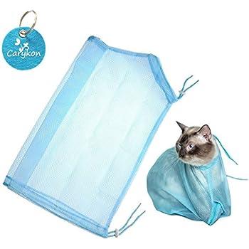 Carykon Adjustable Multifunctional Polyester Cat Washing Shower Mesh Bags Pet Nail Trimming Bags (Blue)