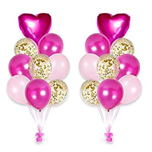 Happy Valentine's Day Confetti Balloons Bouquet Party Decorations Kit (Pink)
