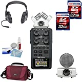 Zoom H6 Six-Track Portable Recorder + Pro Headphones + (2x) 32GB Memory Cards + Cleaning Kit + Lowepro Gadget Bag