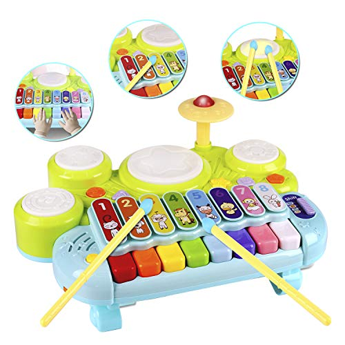 AugToy 3 in 1 Toddler Drum Set Piano Keyboard Xylophone Toys Montessori Musical Instrument Learning Developmental Light Up Toys for Kids Baby Infant Boys Girls Age 2 3 Years Old 18 Months