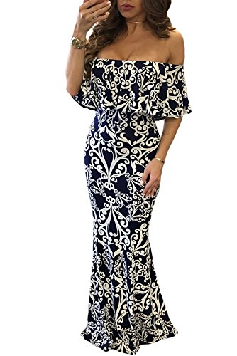 Happy Sailed Women Dark Blue Off-The-Shoulder Maxi Dress, Large Blue Tendril Print