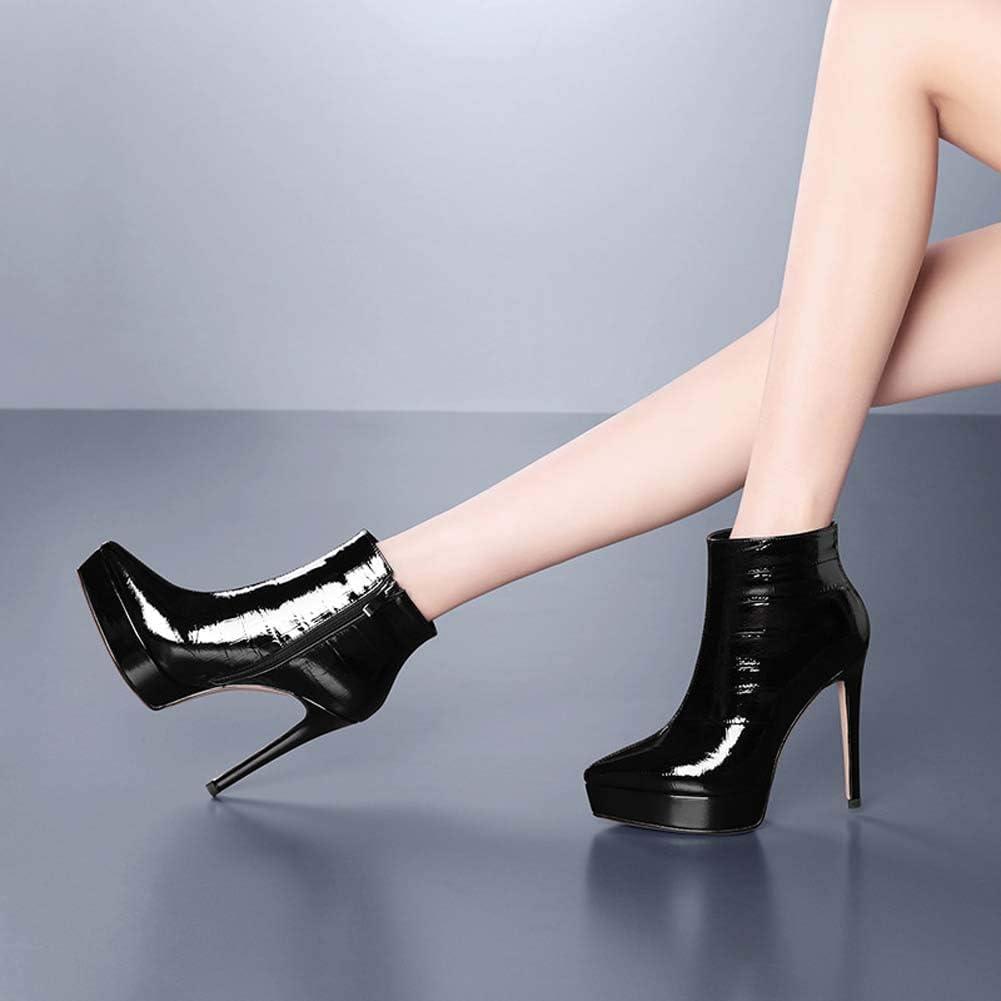 MKXF Bottes Court Tube de Short Bottes Femmes Plateforme Femmes Black