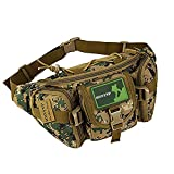Huntvp Tactical Waist Pack Bag Military Fanny Packs WR Hip Belt Bag Pouch for Hiking Climbing Outdoor Bumbag-Jungle Camouflage