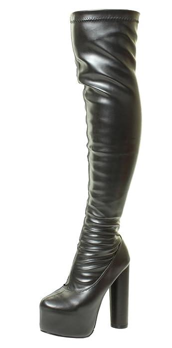 4e74903d310 Tilly London Sexy Womens Black Sexy Stretchy Over The Knee Wide Calf  Stretch Suede Platform Thigh