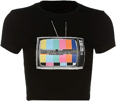 OOFAY Camiseta Impresa En Color Sin Señal De TV, Camiseta Corta Ajustada Negra, Camiseta Informal, Muy Adecuada para Club/Fiesta/Diario, Negro, L: Amazon.es: Ropa y accesorios