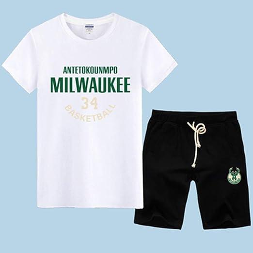 QAZ NBA T-Shirt Camiseta De La NBA Traje De Milwaukee Bucks ...