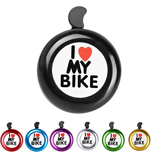 AD Black Bike Bell - I Love My Bike Bell - Loud Aluminum Bike Horn Ring Mini Bike Accessories for Adults Men Women Kids Girls Boys Bikes