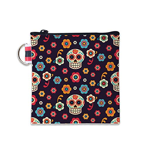 (Sugar Skull Face Flower Canvas Coin Purse Cash Bag Small Zipper Purse Wallets Mini Money Bag Change Pouch Key Holder Double Sides Printing)
