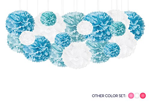 18 DIY Tissue Paper Pom Pom Party Decorations - Hanging Tissue Paper Pom Poms Balls for Baby Shower Birthday Wedding - Light Blue White Turquoise