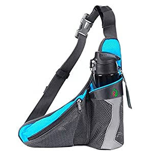 DYJ Sports Waist Pack - Running Bag with Water Bottle Holder Runners Belt Bum Bag Fanny Pack (Blue)