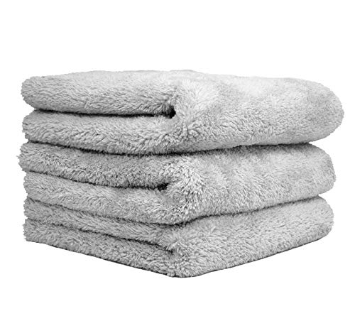 THE RAG COMPANY (3-Pack) 16 in. x 24 in. Eagle EDGELESS 500 Professional Korean 70/30 Super Plush 500gsm Microfiber Detailing Towels (16x24, Ice Grey)
