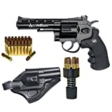 Dan Wesson Licensed CO2 BB Air Gun Revolver Starter Package, Includes 25 Extra Cartridges/Shells & Holster, .177 Caliber, Black
