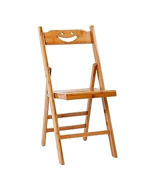 WUFENG Silla Plegable de bambú Silla de Madera Maciza Taburete - Apto para Oficina en casa y los Estudiantes utilizan para Promover la Buena Postura ...