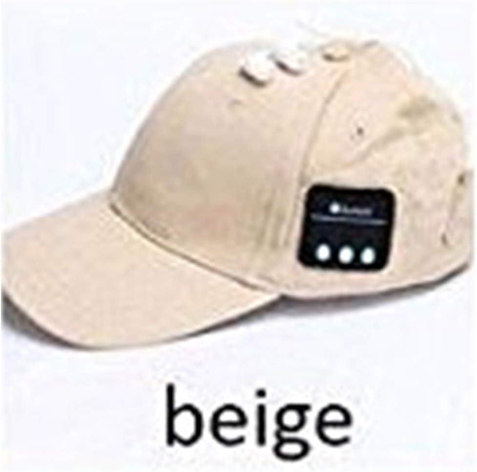 DEALPEAK Bluetooth Pure Cotton Baseball Cap Wireless Bluetooth Music Hat Summer Sun Shade Earphone Headphone Cap (Color : Beige)