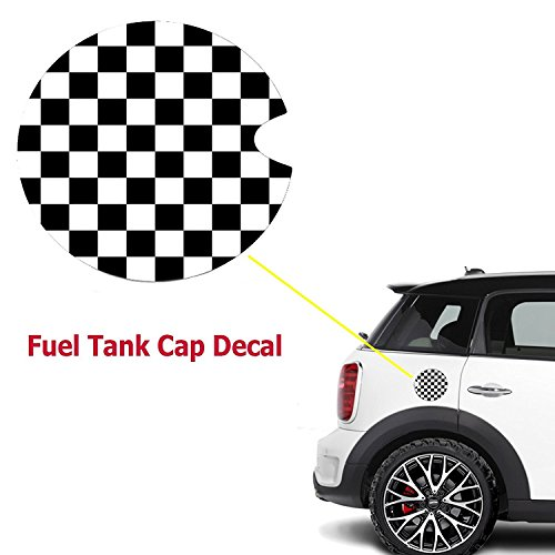 Ultra Thick Black White Checkered Racing Flag Pattern Plastic Vinyl Sticker For Mini Cooper Gas Cap Cover
