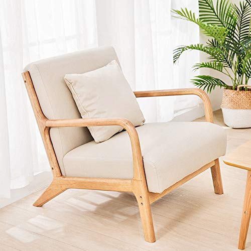 JOYBASE Lounge Arm Chair, Mid Century Modern Accent Chair, Wood Frame Armchair for Living Room, Bedroom (Beige)