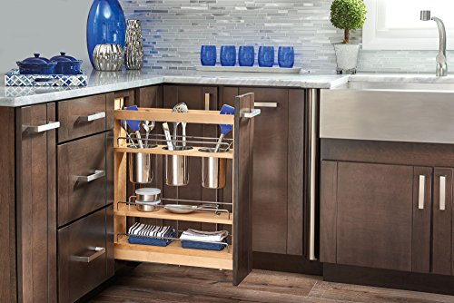 Rev-A-Shelf - 448UT-BCSC-5C - 5 in. Pull-Out Wood Base Cabinet Utensil Organizer with 3 Bins and Soft-Close Slides - Rev A-shelf Wood Pull