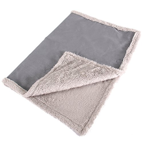 Max and Neo Cozy Premium Faux Suede Fleece Dog Blanket Sofa, Bed, Throw, Crate - We Donate a Blanket to a Dog Rescue for Every Blanket Sold (Gray, Small)