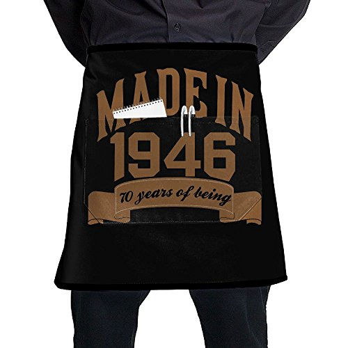 Made In 1946 70 Years Of Being 70th Birthday Unisex Fashion Pocket Waist Apron Restaurant Waitress Waiter Half Bistro - 1946 Denim