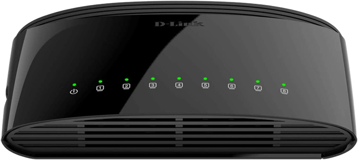 D-Link Ethernet Switch, 8-Port Gigabit Plug n Play Compact Design Fanless Desktop (DGS-1008G), Black