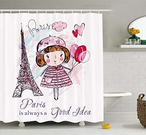 Ambesonne Paris Shower Curtain, Little Girl Holding Balloons Hearts a Cloud and Eiffel Tower Illustration, Fabric Bathroom Decor Set with Hooks, 70 Inches, Pale Pink Purple - Purple Curtain For Girls Shower