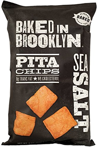 Baked In Brooklyn Pita Chips, Sea Salt 8-Ounce Bags, (Pack of 12)