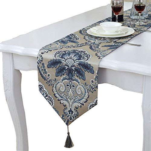 Modern Unique Satin Gold Trim Floral Design Blue Table Runner