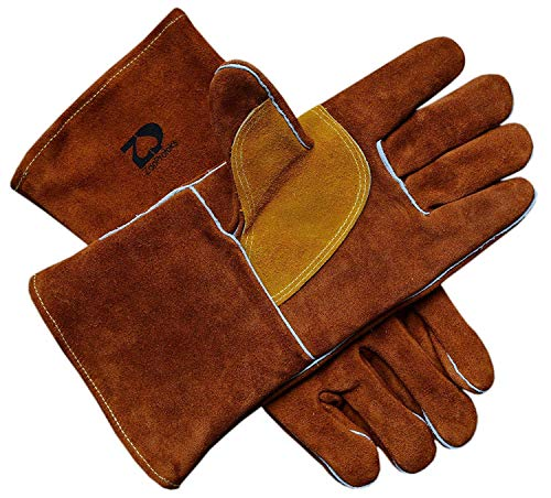 ZaoProteks ZP1708 Heat Resistant Welding Gloves for Welding Gardening Camping Fireplace Hearth Stove Barbecue (Brown)