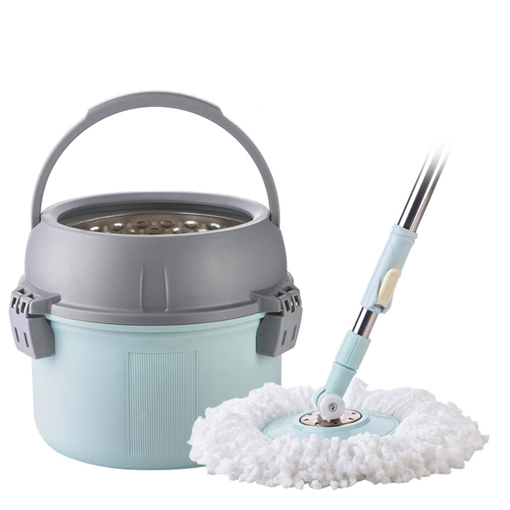 Happy Time Household Stainless Steel Hand-Washing Pressure mop Automatic Rotation mop Dump Water MOP Bucket MOP Bucket mop Bucket Suitable for Home School Office, etc,Blue