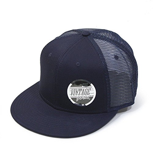 - Vintage Year Plain Cotton Twill Flat Brim Mesh Adjustable Snapback Trucker Baseball Cap (Navy)