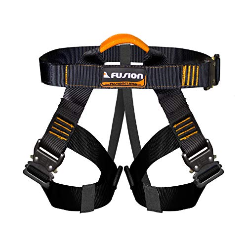 Fusion Climb Concerto Half Body Harness Black M-XL Quick Release Buckles, Black/Orange