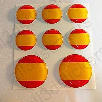 Pegatinas Bandera España Redondas 8 x Pegatina España Resina Relieve 3D Adhesivo Vinilo: Amazon.es: Coche y moto