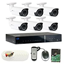 GW Security 8 Channel Tribrid DVR 2.1 Megapixel HD-TVI 1080P Security Camera System with (6) x True HD 1080P Waterproof 2.8-12mm Varifocal Zoom Bullet Security Camera