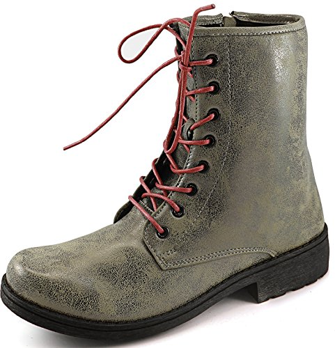Qupid Missile-04 / Source-03x Mock Dr. Martens Ispirato Lace Up Stivali Combattimento Stile 1460 Taupe Brz, Pizzo Rosso