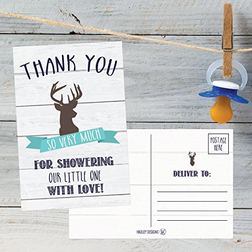 50 4x6 Rustic Deer Baby Shower Thank You Postcards Woodland Animals Bulk, Modern Cute Boho Blank Thanks Note Card For Girl or Boy Stationery Appreciation Set Photo #4