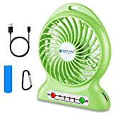 dizauL Portable Fan, Mini USB Rechargeable Fan with 2600mAh Battery Operated and Flash Light,for Traveling,Fishing,Camping,Hiking,Backpacking,BBQ,Baby Stroller,Picnic,Biking,Boating (Green)