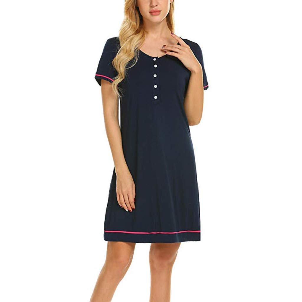 LANSKRLSP Camicie da Notte Premaman Abito per Allattamento Vestito Donna Casual Madre Pigiama Camicia da Notte Navy Nero Grigio