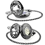 Steampunk Golden Gears Copper Case Skeleton Mechanical Pendant Pocket Watch with Chain/Gift Box 13