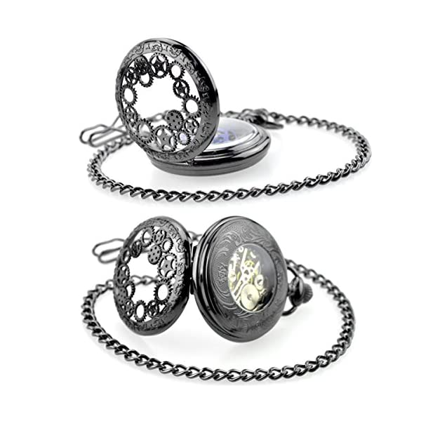 Steampunk Golden Gears Copper Case Skeleton Mechanical Pendant Pocket Watch with Chain/Gift Box 7