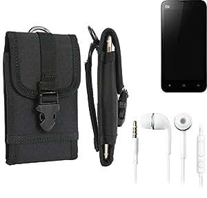 bolsa del cinturón / funda para Xiaomi Mi2s, negro + Auriculares | caja del teléfono cubierta protectora bolso - K-S-Trade (TM)