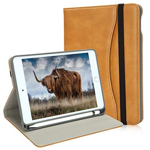 New iPad Mini Case 5th Generation with Pencil Holder - Mini iPad 4 Leather Stand Folio - Wallet Pocket - Handle Strap - Soft TPU Back Cover Auto Sleep/Wake for 7.9 Inch iPad mini 4 / 5 (Camel)