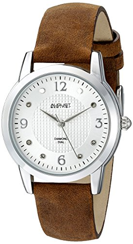 August Steiner Women's AS8198BR Silver Quartz Watch with White Dial and Brown Suede Leather Strap