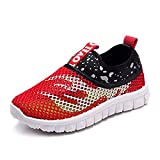 Children Trainers Breathable Mesh Slip On Outdoor Walking Water Shoes Boys Girls Sneaker Sandals Pool Beach Shoes Sports Shoes Light Toddler Shoes for 1-10 Years Old Big Children's Shoes (23, Red)