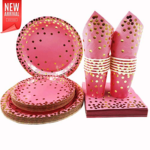 200 Pack Pink and Gold Party Supplies, Disposable Dinnerware Set In Pink Gold Foil Designs, 50 Guests Dinner Plates, Dessert Plates,9 oz Cups and Napkins for Weddings, Birthday Party and Baby Shower -