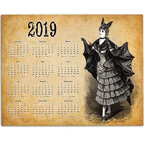2019 Calendar - Vintage Bat Costume - 11x14 Unframed Calendar Art Print - Great Goth Calendar, Also Makes a Great Gift Under $10]()